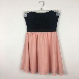 Material Girl | Pink Black Flowy Strapless Dress
